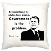 Ronald Reagan - Government is the Problem - Linen Cushion Cover 50x50cm